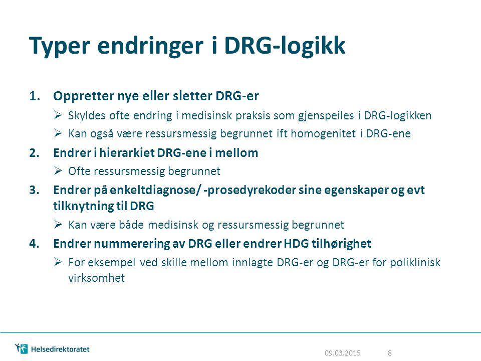 Typer endringer i DRG-logikk