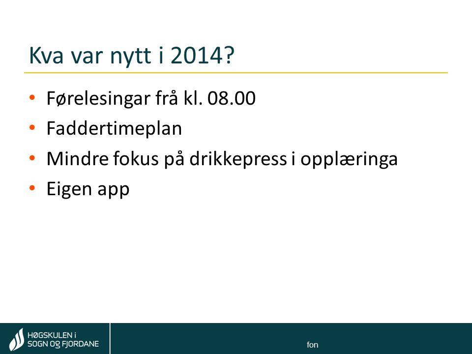 Kva var nytt i 2014 Førelesingar frå kl. 08.00 Faddertimeplan