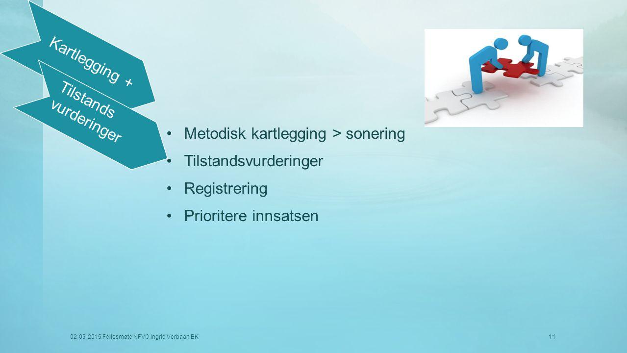 Metodisk kartlegging > sonering Tilstandsvurderinger Registrering