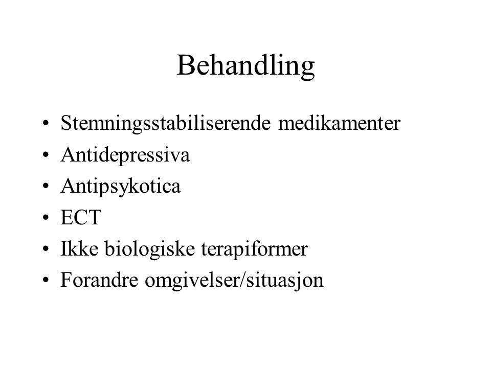Behandling Stemningsstabiliserende medikamenter Antidepressiva