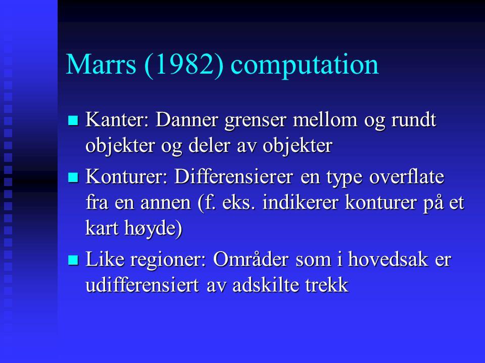 Marrs (1982) computation Kanter: Danner grenser mellom og rundt objekter og deler av objekter.
