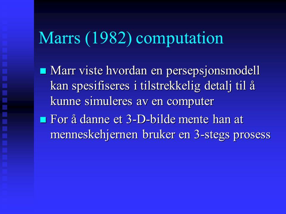 Marrs (1982) computation Marr viste hvordan en persepsjonsmodell kan spesifiseres i tilstrekkelig detalj til å kunne simuleres av en computer.