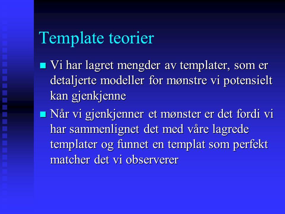 Template teorier Vi har lagret mengder av templater, som er detaljerte modeller for mønstre vi potensielt kan gjenkjenne.