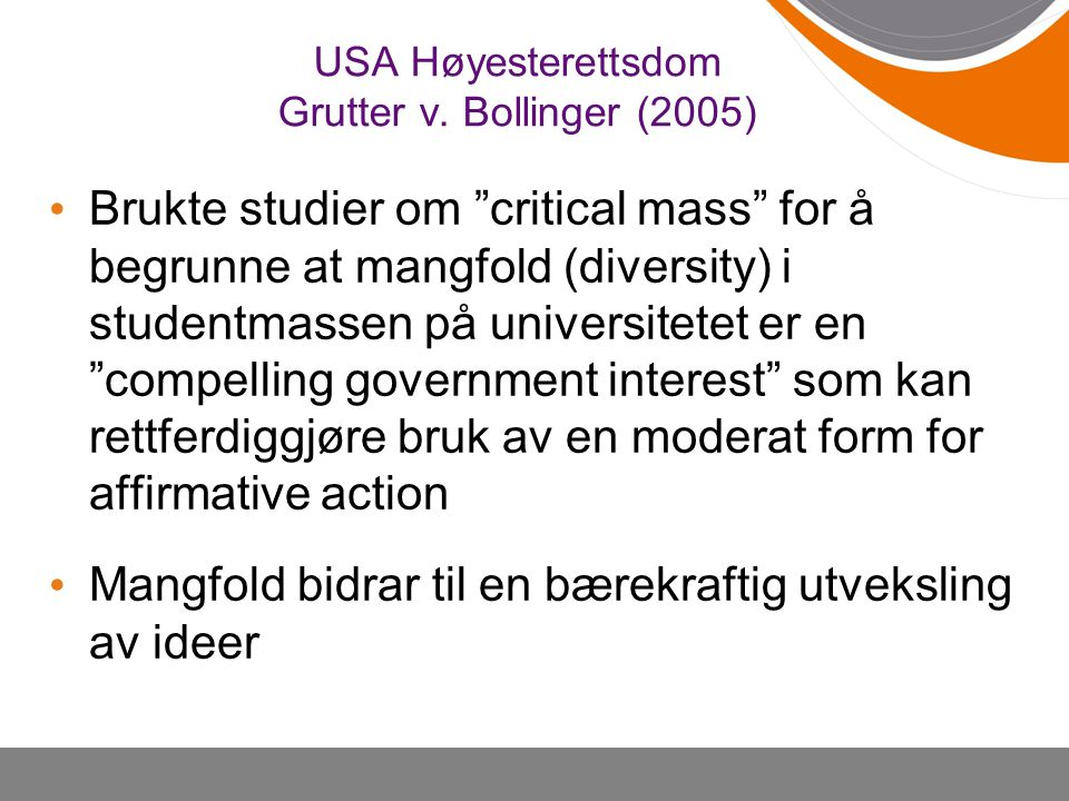 USA Høyesterettsdom Grutter v. Bollinger (2005)