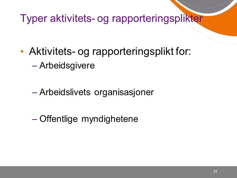 Typer aktivitets- og rapporteringsplikter