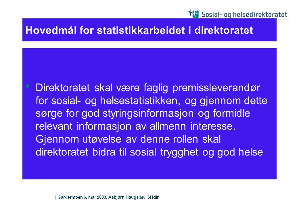 Hovedmål for statistikkarbeidet i direktoratet