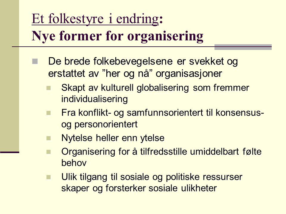 Et folkestyre i endring: Nye former for organisering