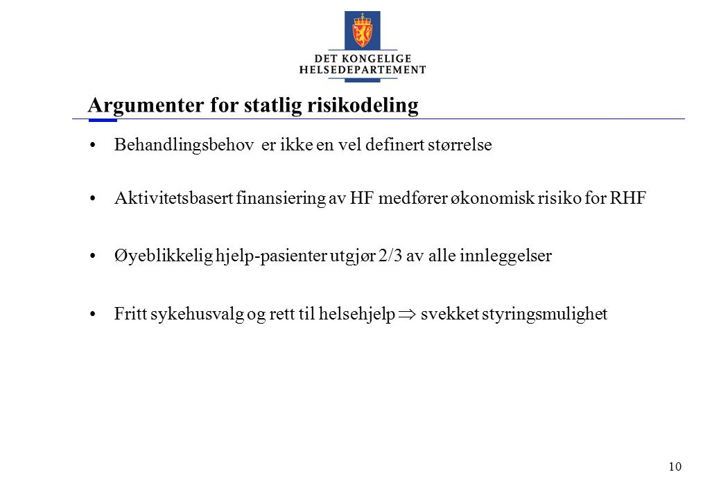 Argumenter for statlig risikodeling