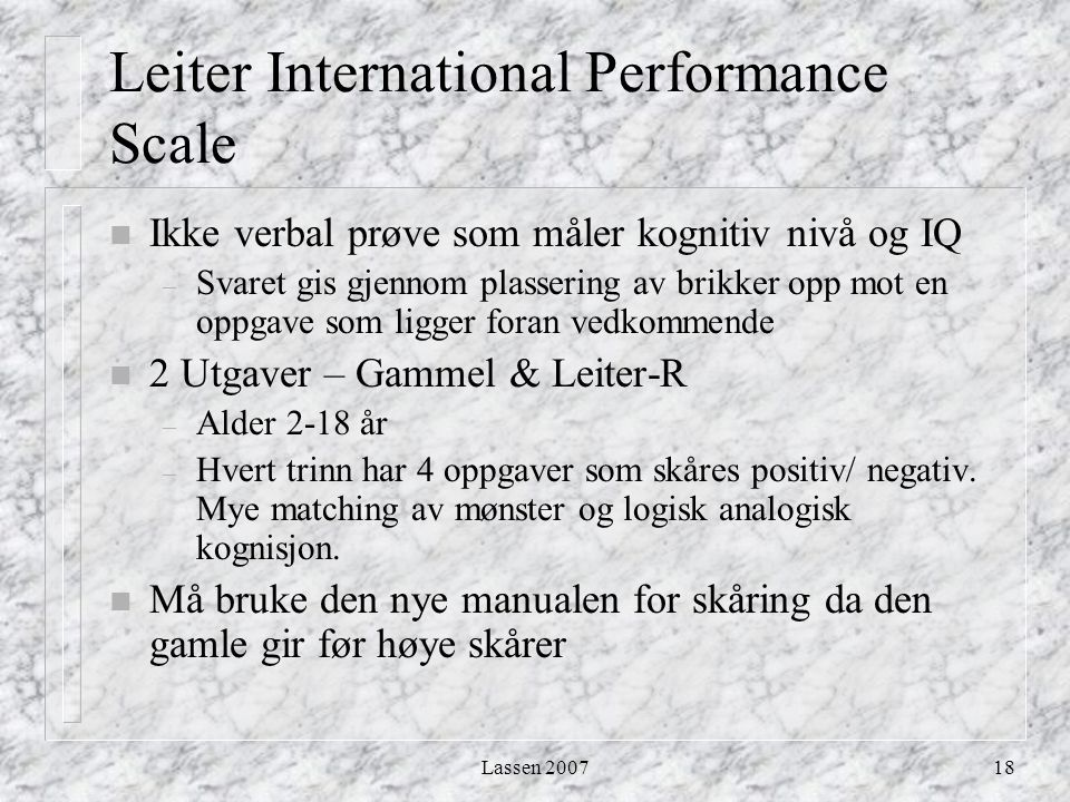 Leiter International Performance Scale