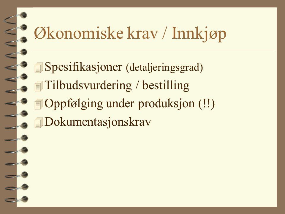 Økonomiske krav / Innkjøp