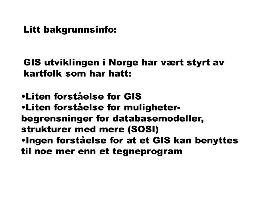 Litt bakgrunnsinfo: GIS utviklingen i Norge har vært styrt av kartfolk som har hatt: