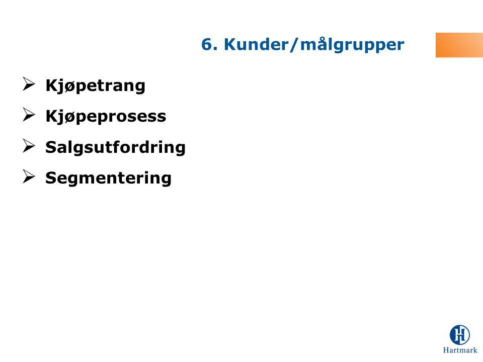 6. Kunder/målgrupper Kjøpetrang Kjøpeprosess Salgsutfordring Segmentering
