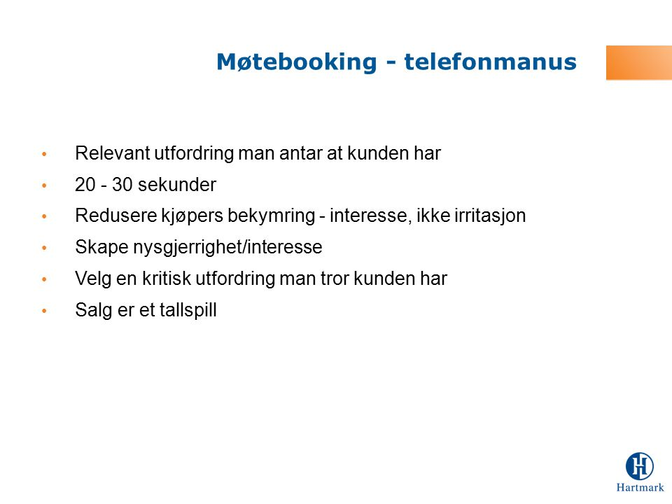 Møtebooking - telefonmanus