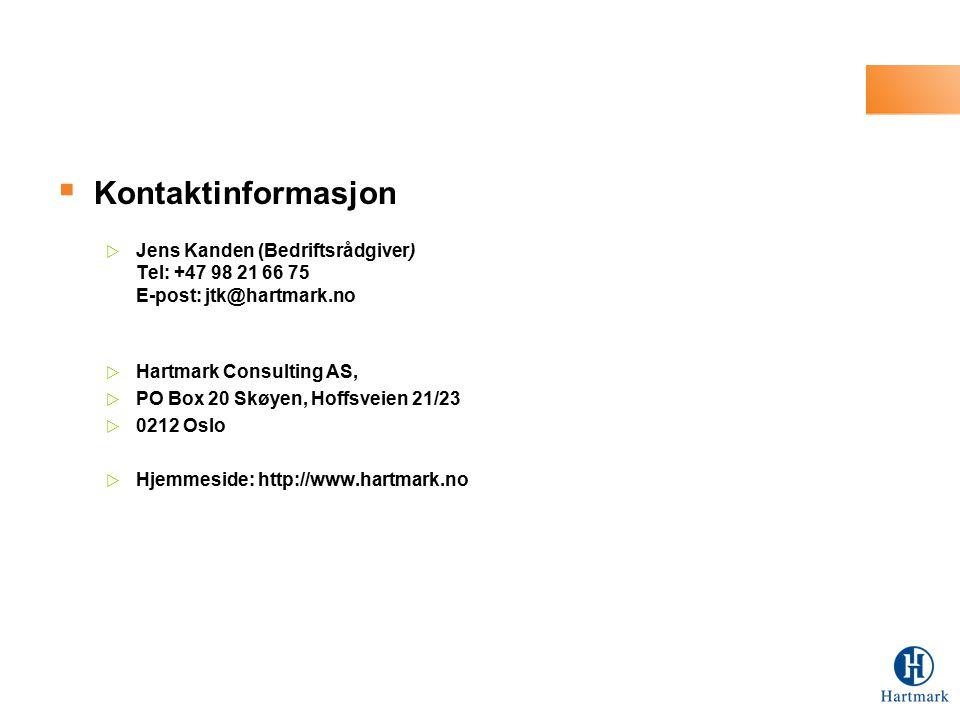 Kontaktinformasjon Jens Kanden (Bedriftsrådgiver) Tel: +47 98 21 66 75 E-post: jtk@hartmark.no. Hartmark Consulting AS,