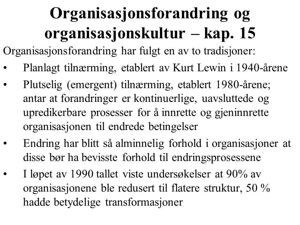 Organisasjonsforandring og organisasjonskultur – kap. 15