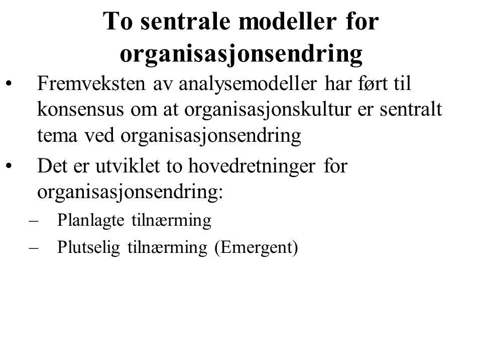 To sentrale modeller for organisasjonsendring