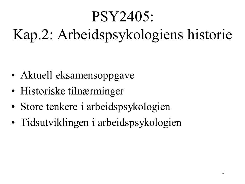 PSY2405: Kap.2: Arbeidspsykologiens historie