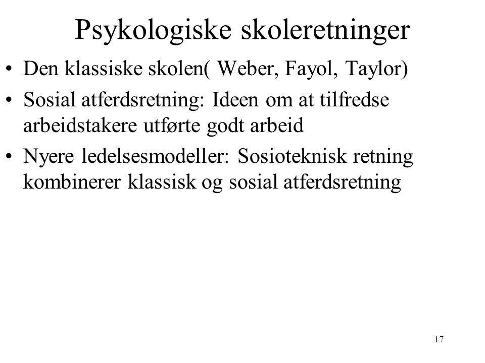 Psykologiske skoleretninger