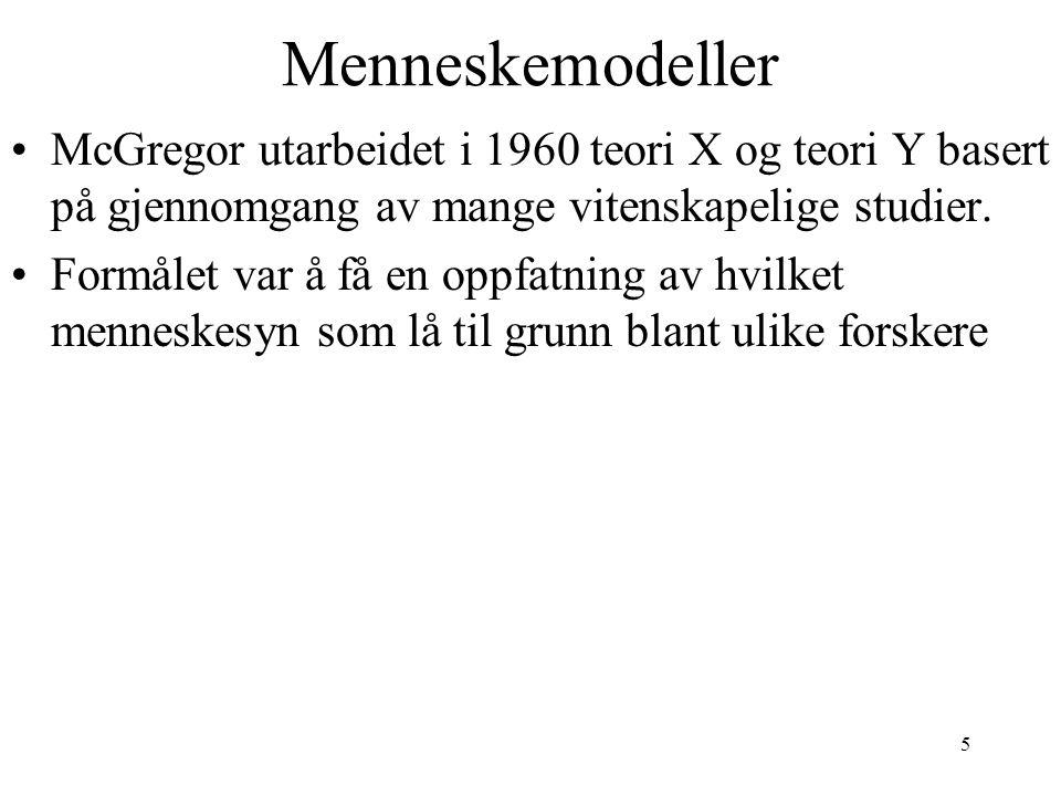 Menneskemodeller McGregor utarbeidet i 1960 teori X og teori Y basert på gjennomgang av mange vitenskapelige studier.