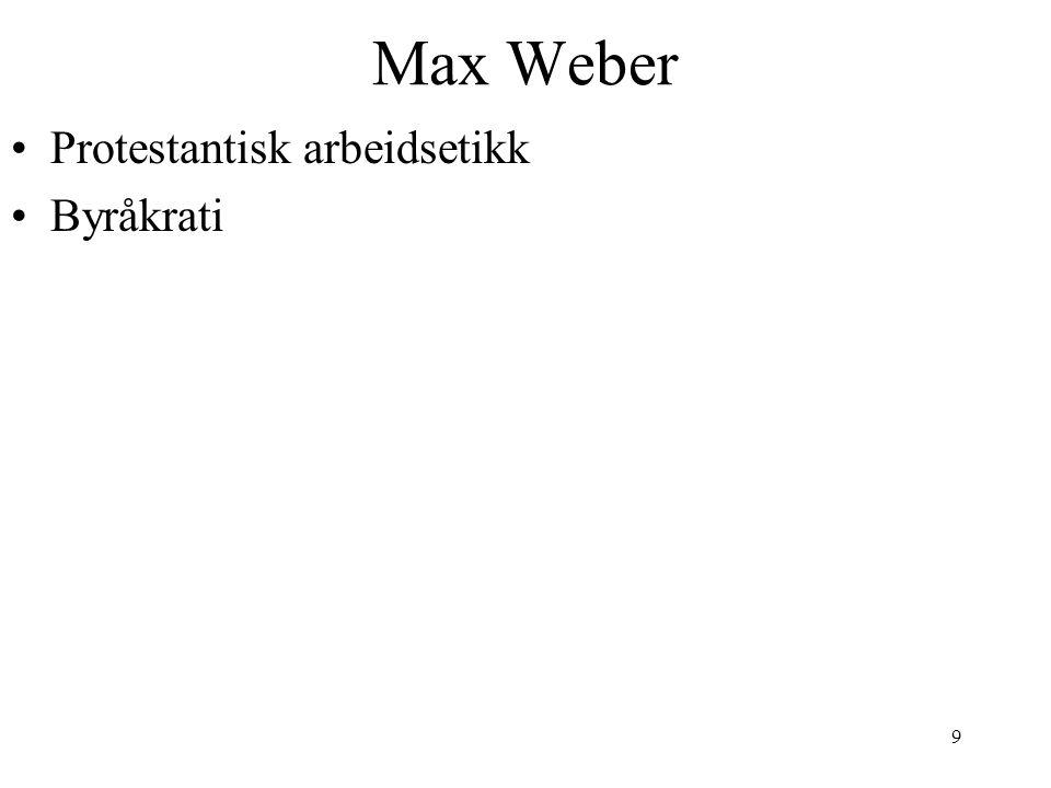Max Weber Protestantisk arbeidsetikk Byråkrati