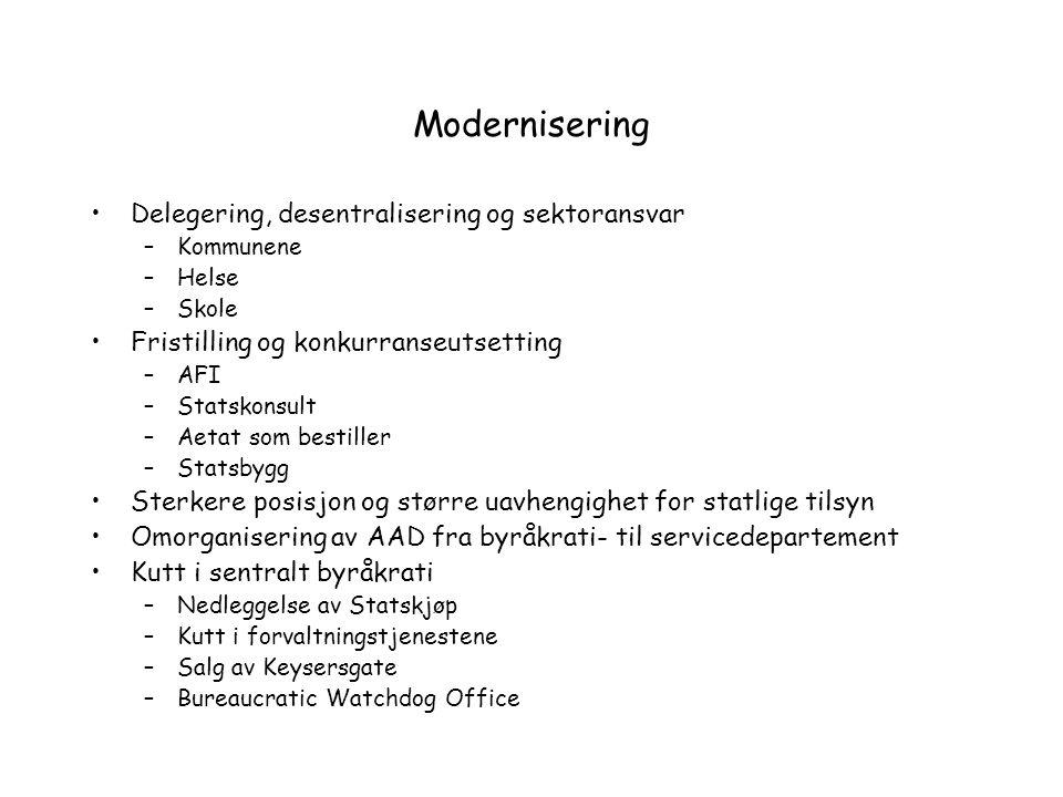 Modernisering Delegering, desentralisering og sektoransvar