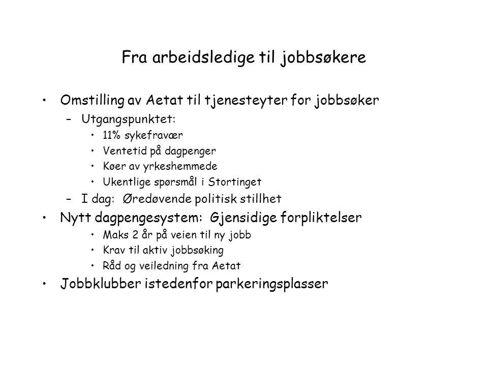 Fra arbeidsledige til jobbsøkere
