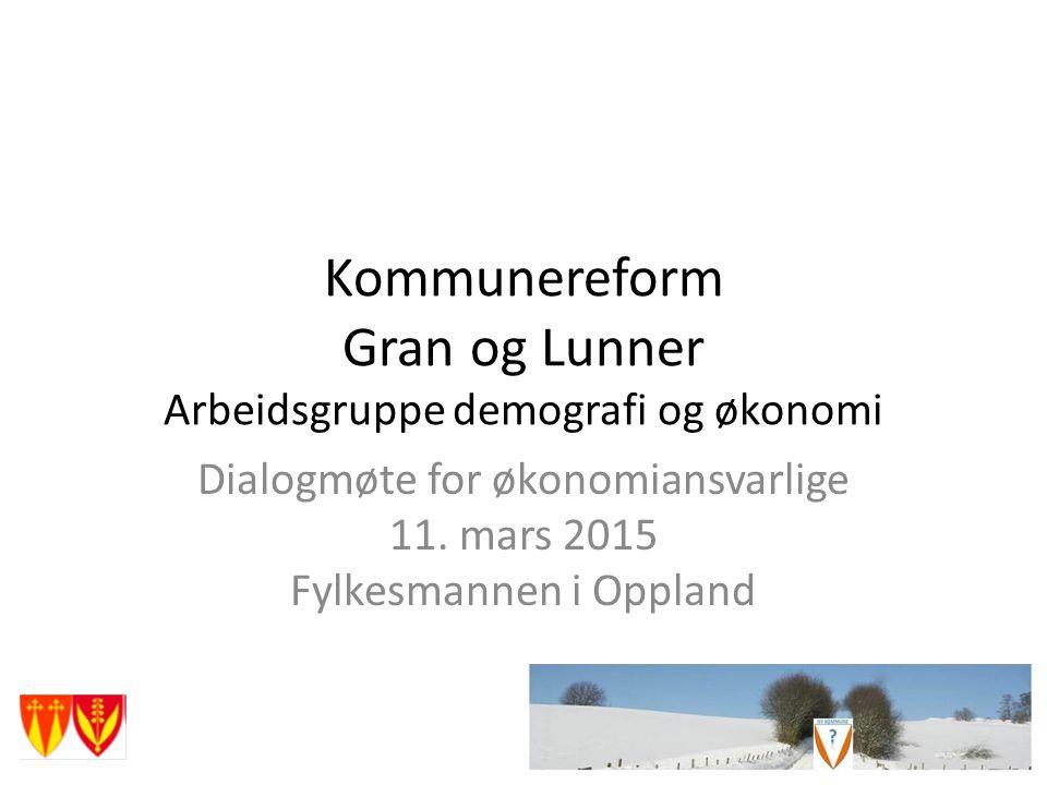 Kommunereform Gran og Lunner Arbeidsgruppe demografi og økonomi