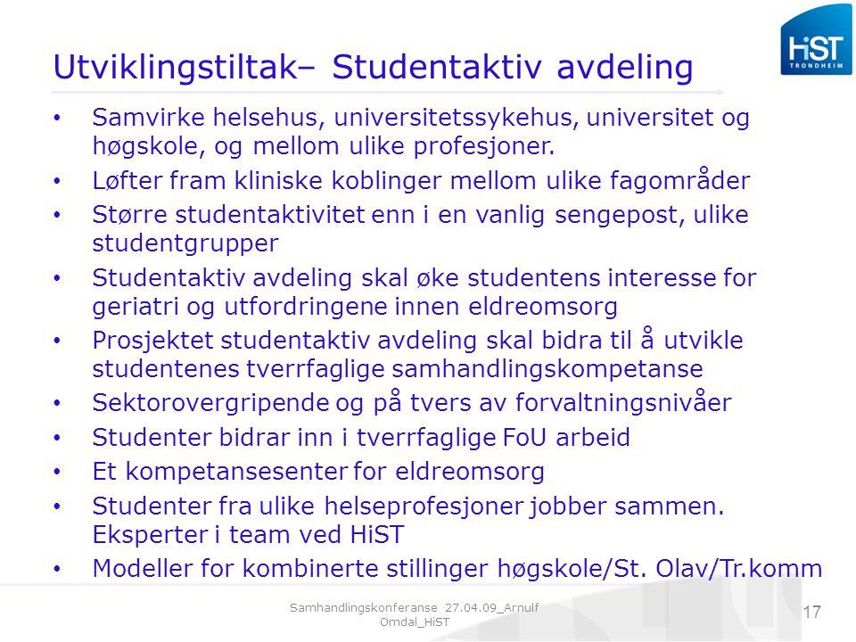 Utviklingstiltak– Studentaktiv avdeling