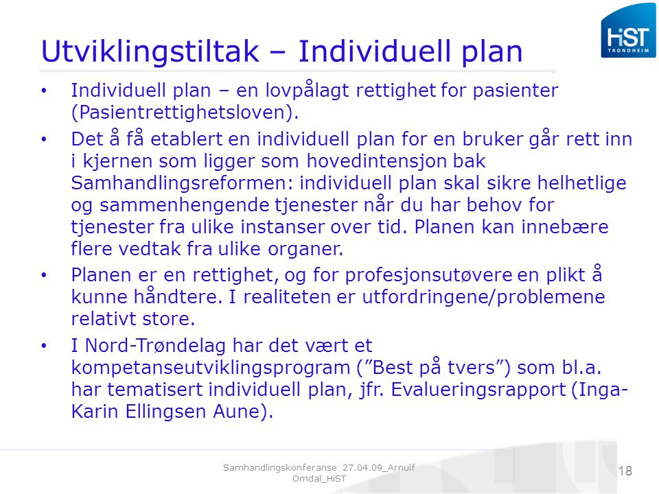 Utviklingstiltak – Individuell plan
