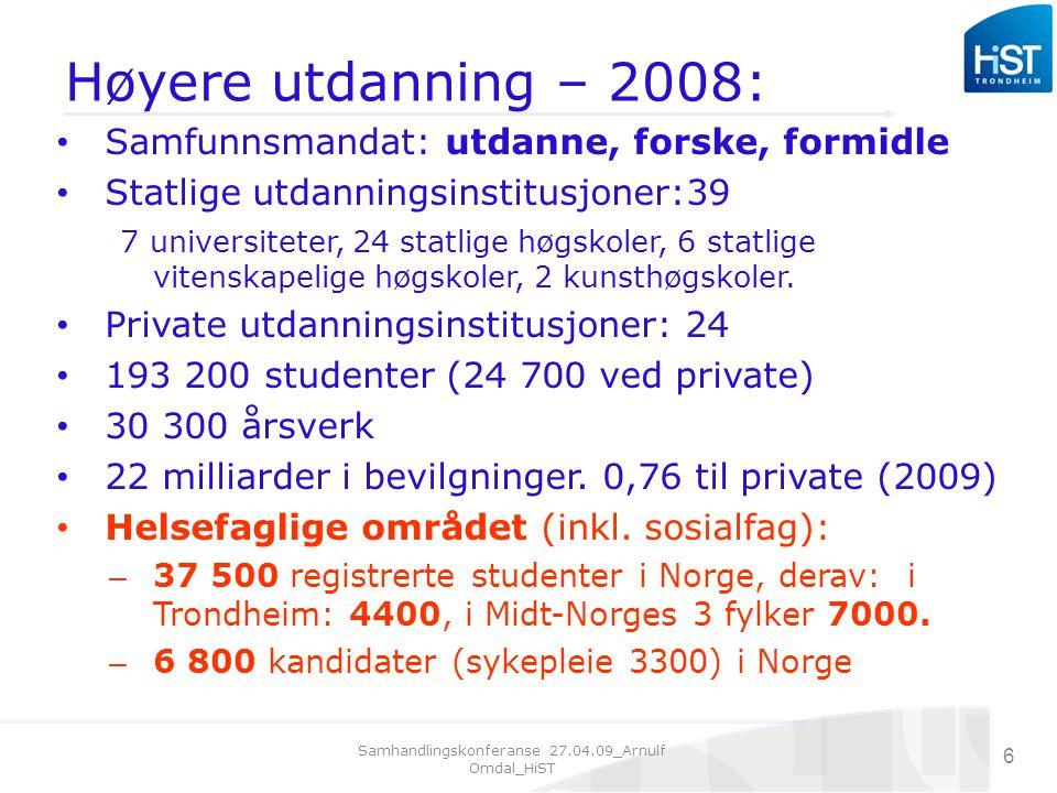 Samhandlingskonferanse 27.04.09_Arnulf Omdal_HiST