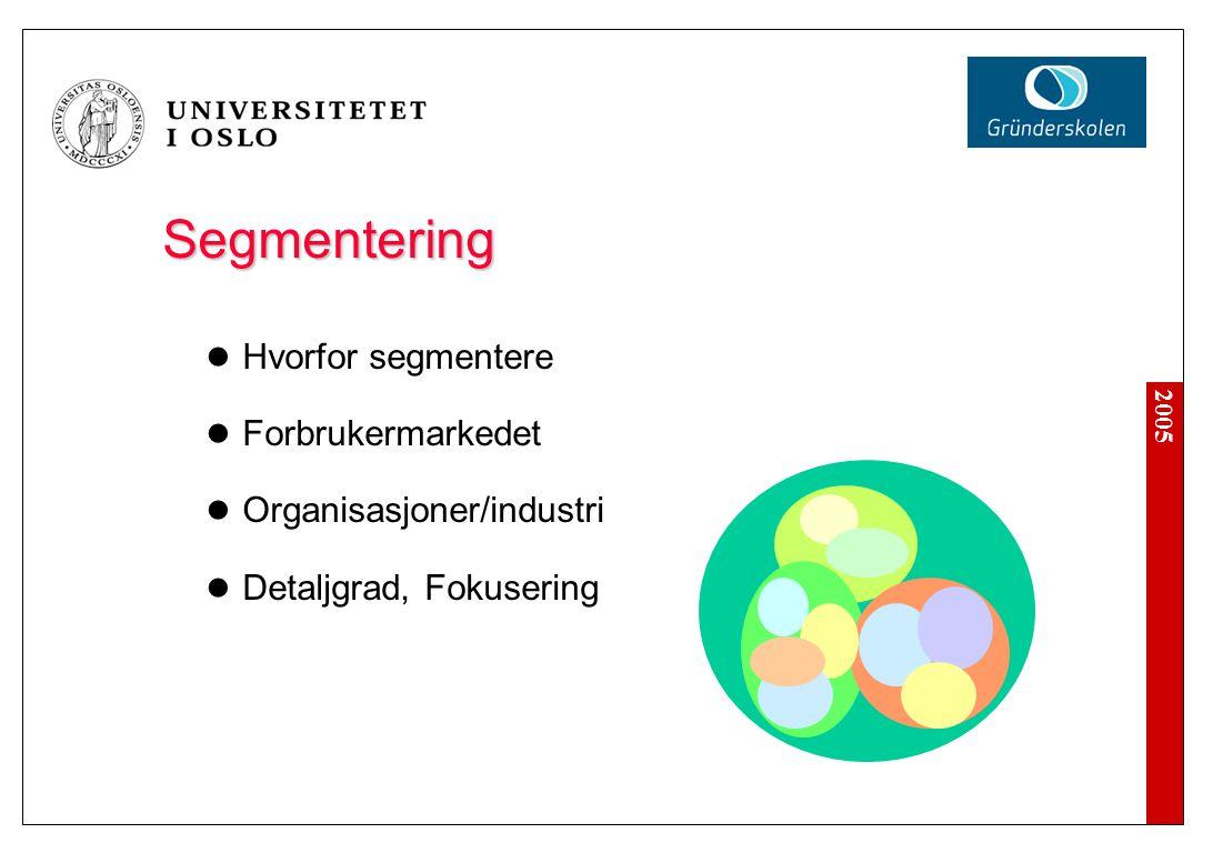 Segmentering Hvorfor segmentere Forbrukermarkedet