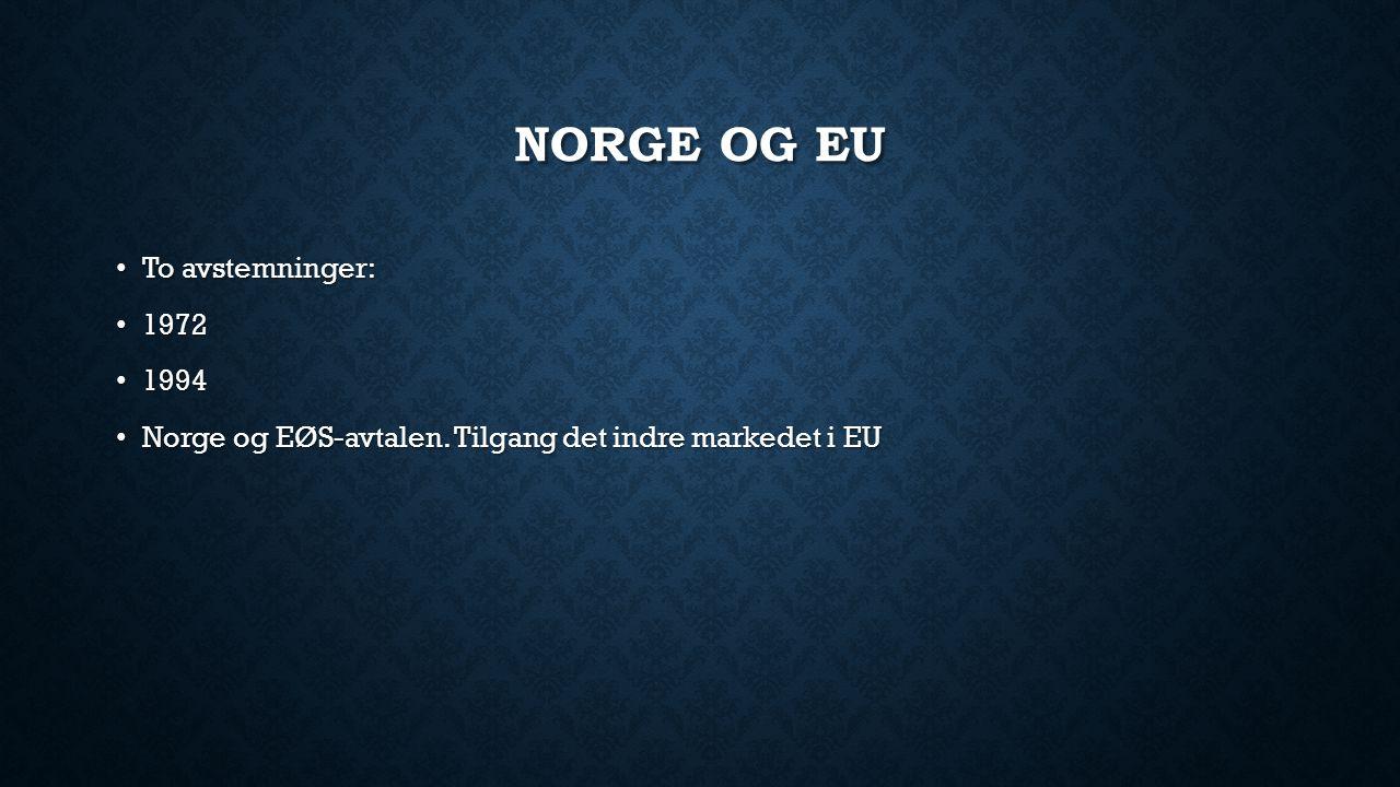 Norge og EU To avstemninger: 1972 1994