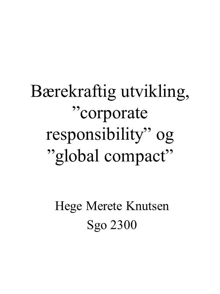 Bærekraftig utvikling, corporate responsibility og global compact