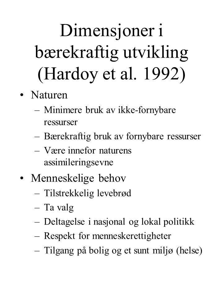 Dimensjoner i bærekraftig utvikling (Hardoy et al. 1992)