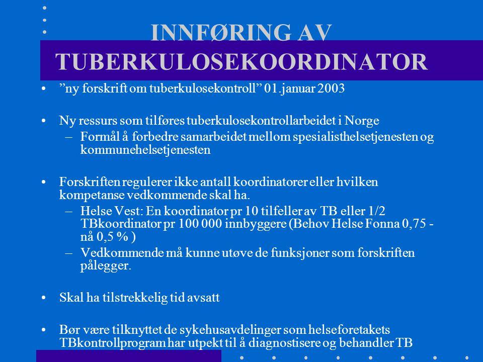 INNFØRING AV TUBERKULOSEKOORDINATOR