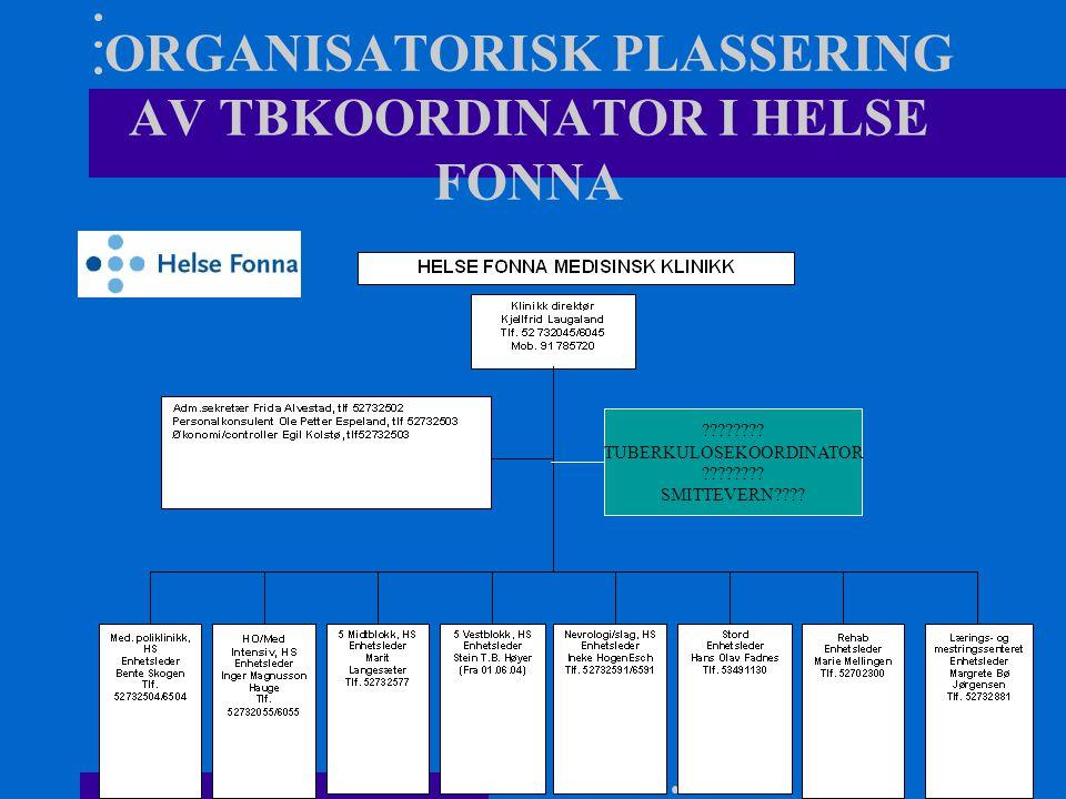 ORGANISATORISK PLASSERING AV TBKOORDINATOR I HELSE FONNA