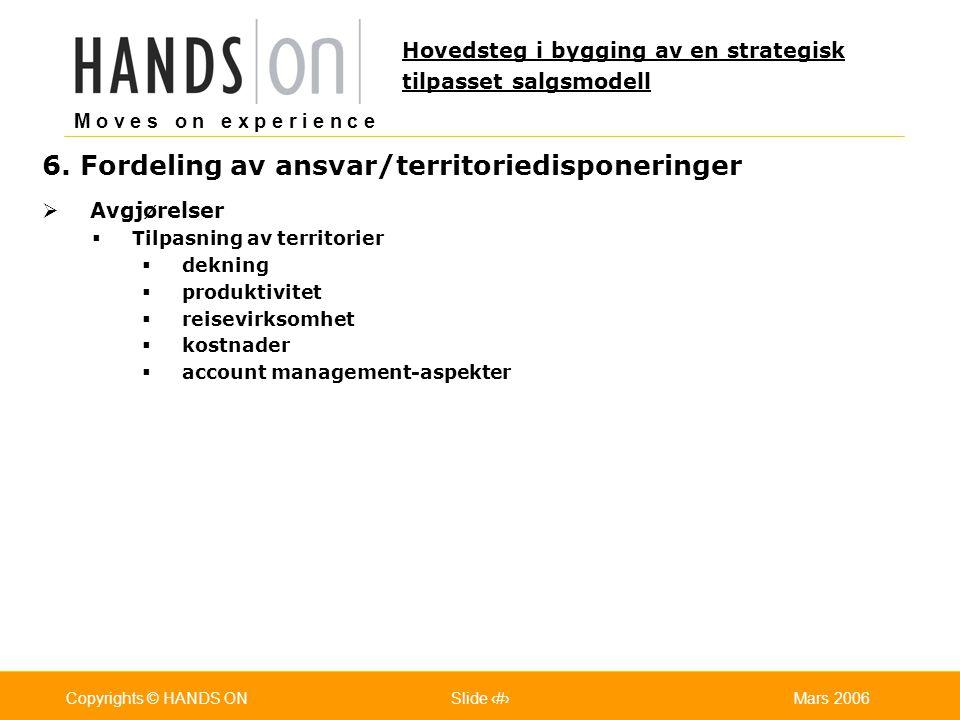 6. Fordeling av ansvar/territoriedisponeringer