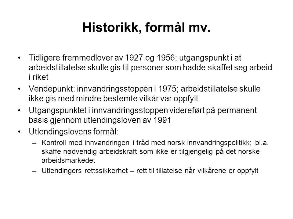 Historikk, formål mv.