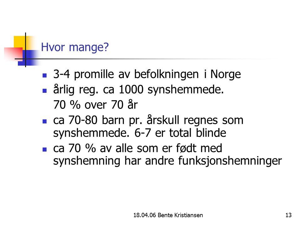 3-4 promille av befolkningen i Norge årlig reg. ca 1000 synshemmede.
