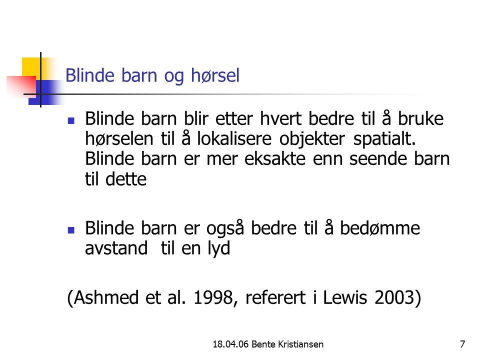 Blinde barn er også bedre til å bedømme avstand til en lyd