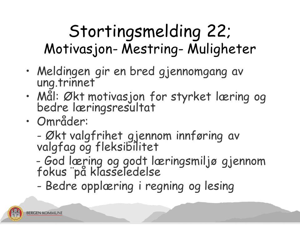 Stortingsmelding 22; Motivasjon- Mestring- Muligheter