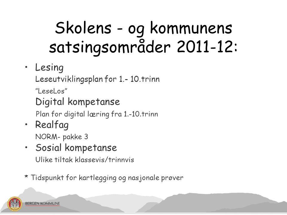 Skolens - og kommunens satsingsområder 2011-12:
