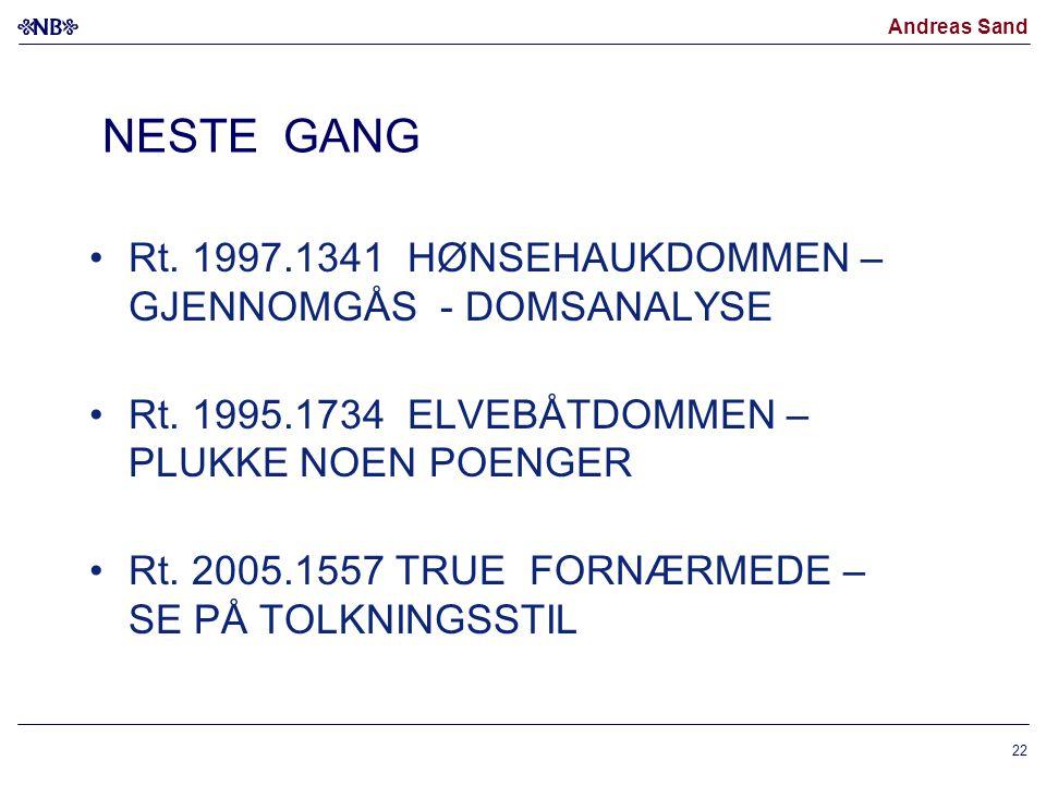 NESTE GANG Rt. 1997.1341 HØNSEHAUKDOMMEN – GJENNOMGÅS - DOMSANALYSE