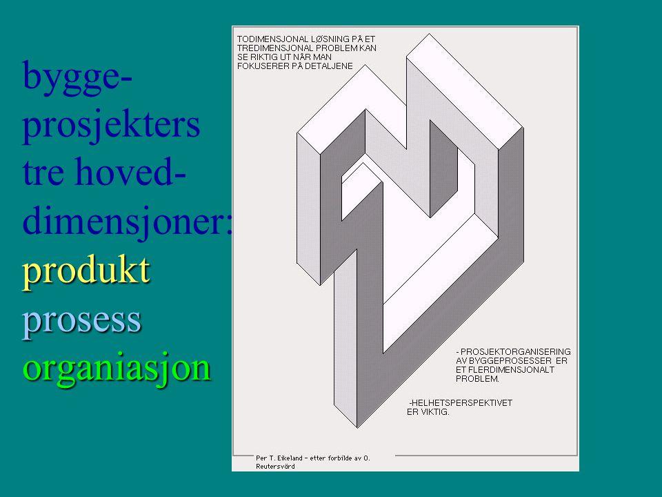 bygge-prosjekters tre hoved-dimensjoner: produkt prosess organiasjon