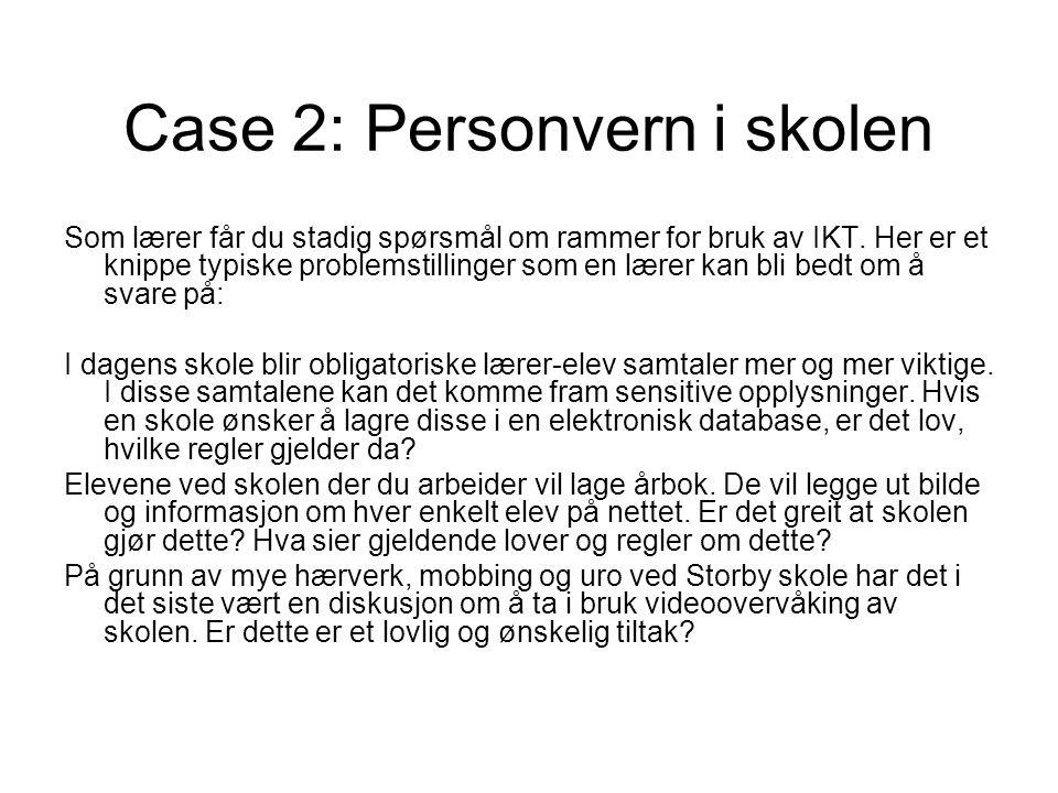 Case 2: Personvern i skolen