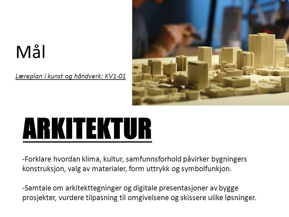 Mål Læreplan i kunst og håndverk: KV1-01. ARKITEKTUR.