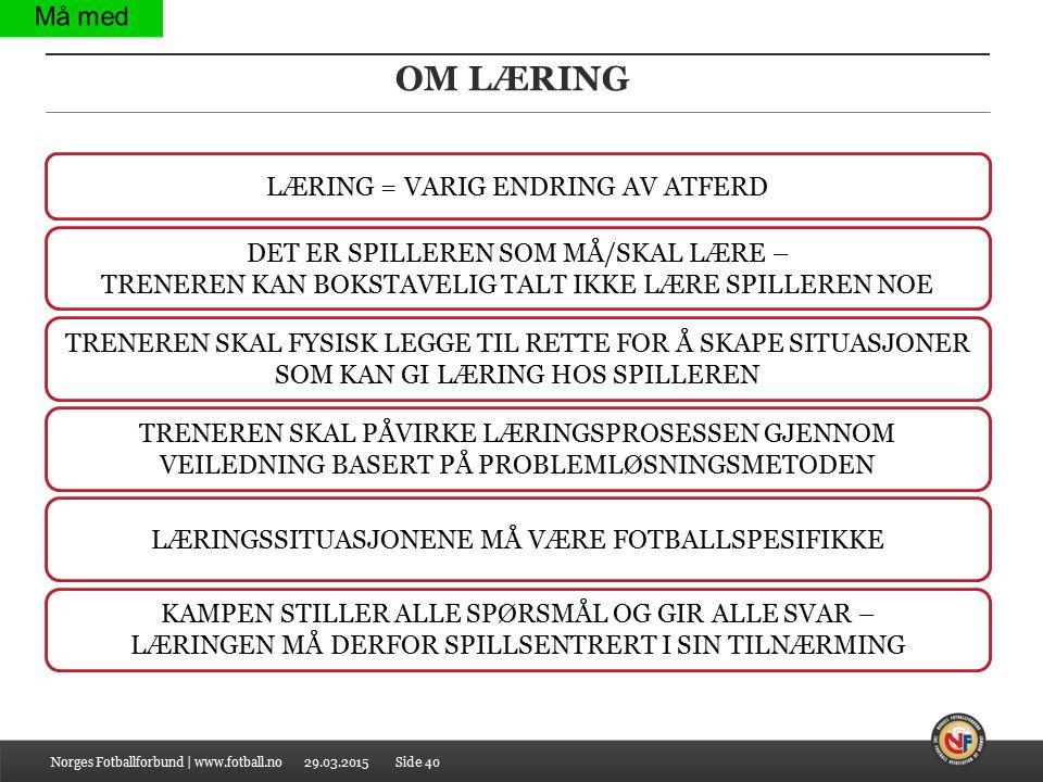 OM LÆRING LÆRING = VARIG ENDRING AV ATFERD