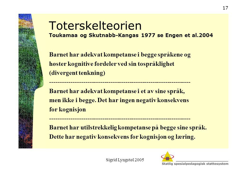 Toterskelteorien Toukamaa og Skutnabb-Kangas 1977 se Engen et al.2004
