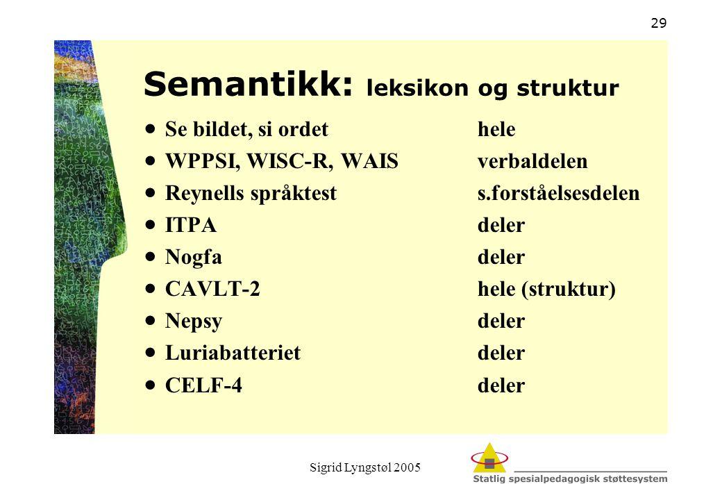 Semantikk: leksikon og struktur