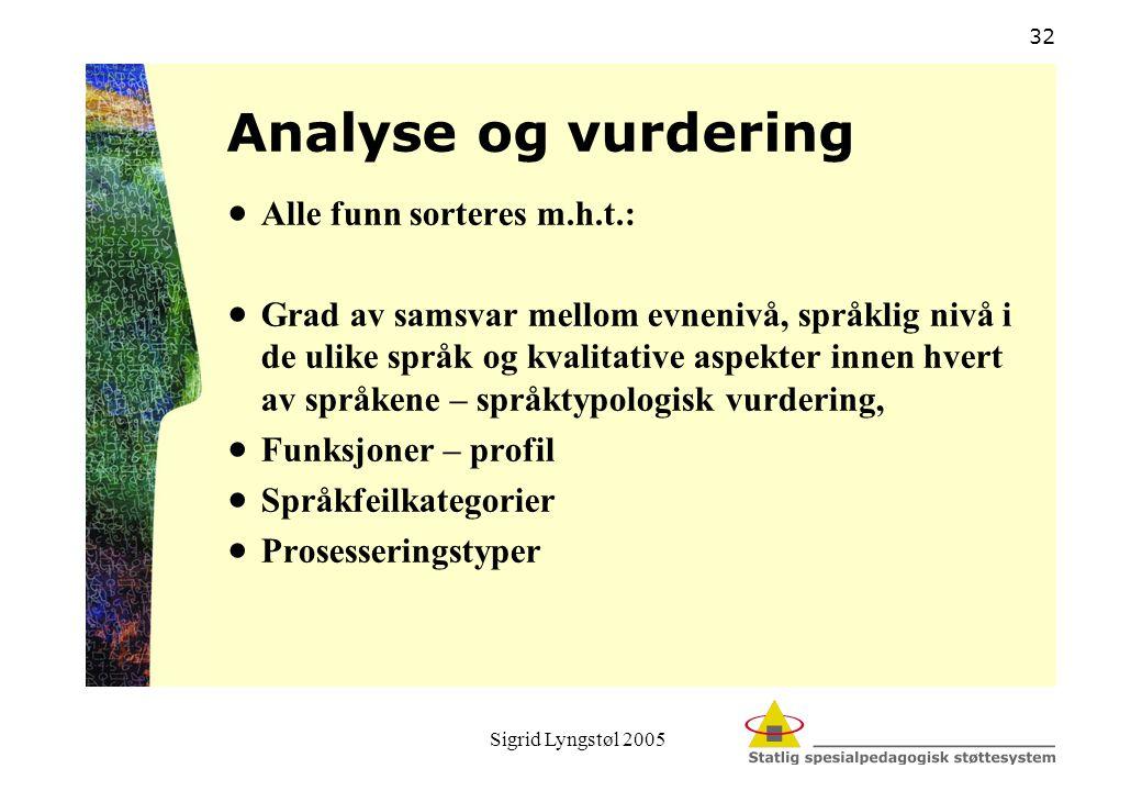 Analyse og vurdering Alle funn sorteres m.h.t.: